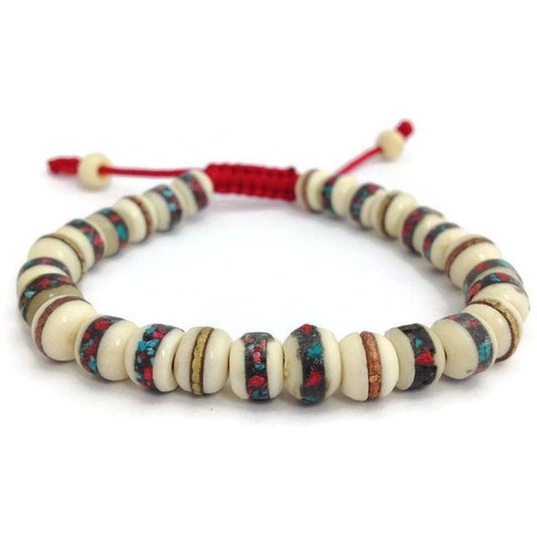 Tibetan Turquoise and Coral Inlaid Bone Beads Wrist Mala