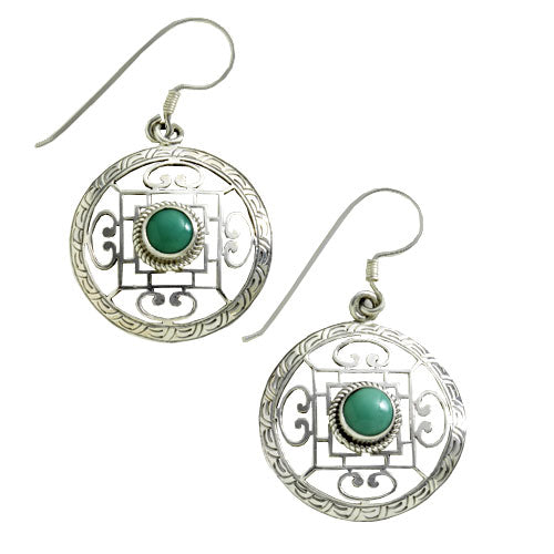 Tibetan Mandala Silver Earrings