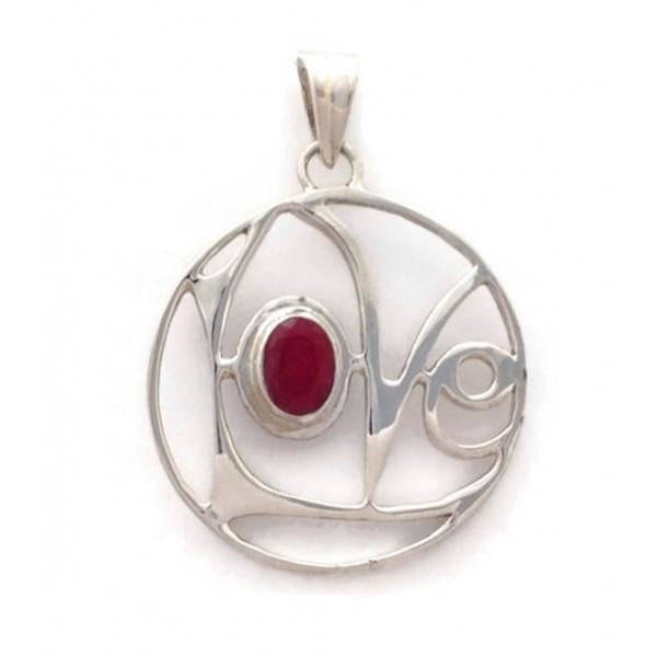 Love Word with Faceted Ruby Silver Pendant