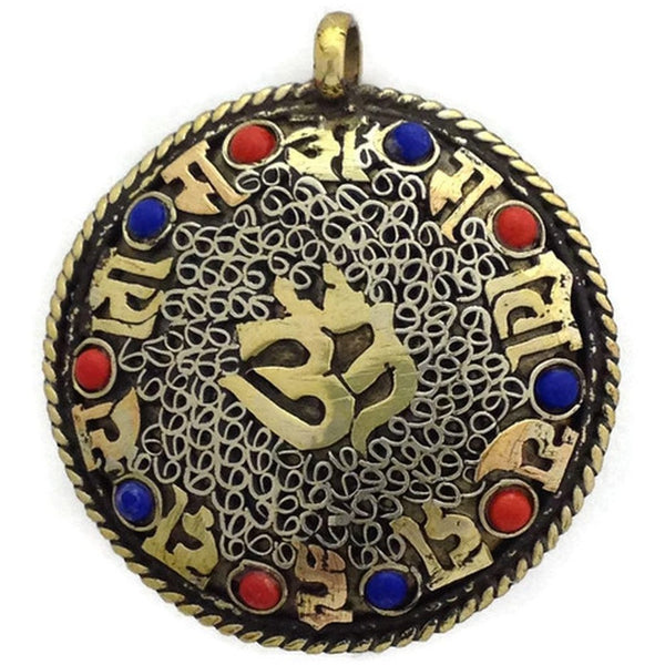 Hindu Om and Buddhist Mantra Om Double Sided Brass Pendant