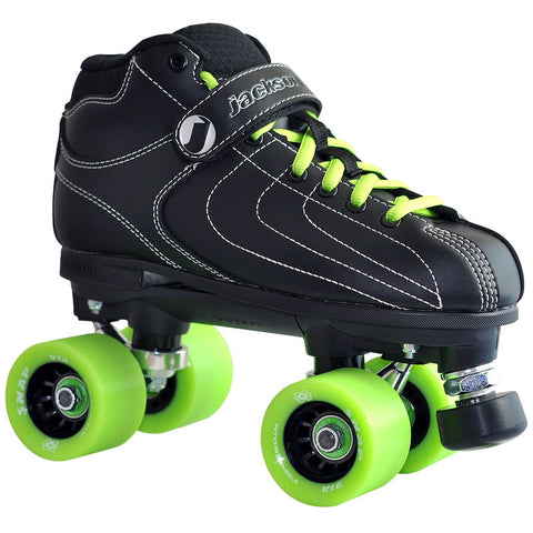black Jackson Vibe Rink Quad Skate package with Atom Snap wheels