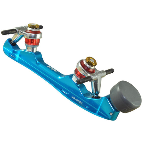 Electric Blue Falcon Polished Quad Plate available @ Atom Skates