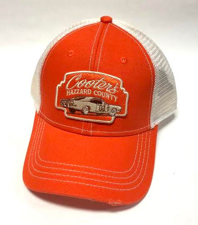 Cooter's Hazzard County General Lee Marquee Patch Trucker Hat (White Mesh)