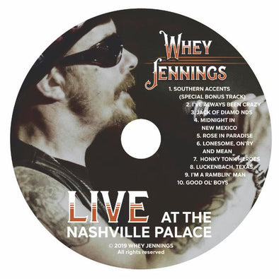 "WHEY JENNINGS ""LIVE AT THE NASHVILLE PALACE"" CD"