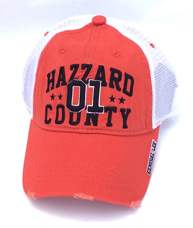 Hazzard County 01 Orange Trucker Hat (White Mesh)