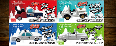 PRE-ORDER ONLY (December Delivery Expected/Not Guaranteed) Set 4 of Christmas Ornaments each W/Sound Button Tow Truck, Daisy's Dixie, Hazzard Sheriff & Boss Caddy