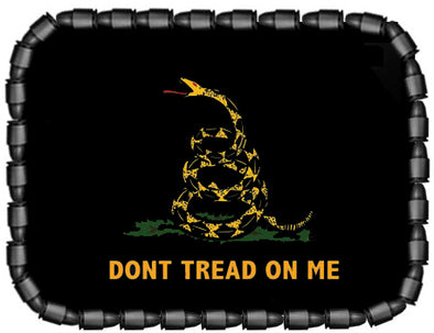 Don't Tread On Me With Black Background Gadsden Belt Buckle