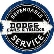 Dodge Dependable Service Round Metal Sign