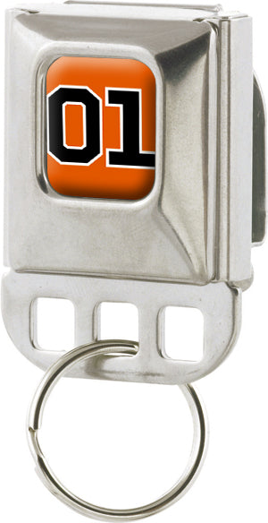 Metal Keychain Holder Orange 01 SeatBelt Style