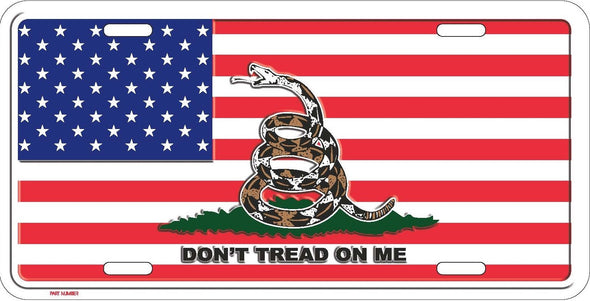 USA With Don't Tread On Me Gadsden Flag License Plate