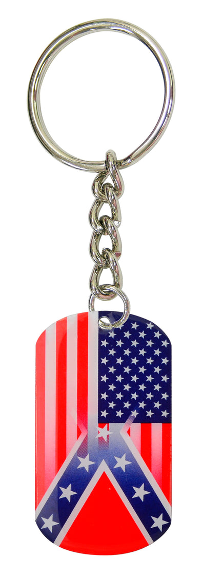 Rebel/USA Flag Keychain Dog Tag