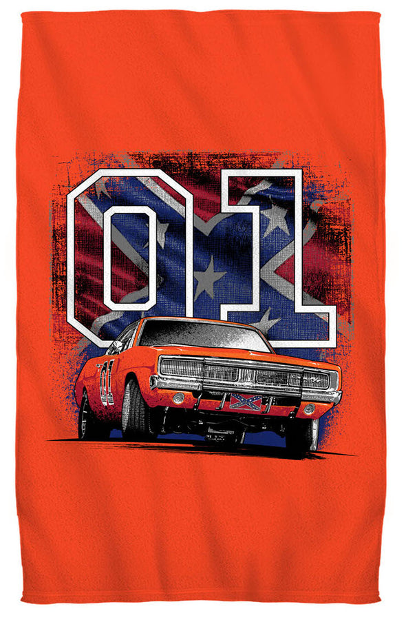 "Cooter's ""General Lee 01 W/ Rebel Flag"" Beach Towel"