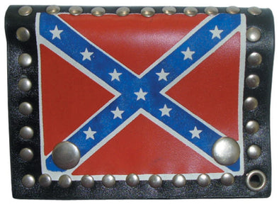 Confederate Flag Tri-Fold Studded Wallet