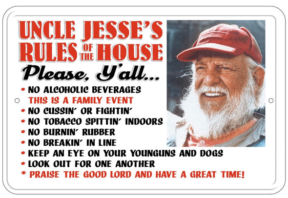 Uncle Jesse Rules of the House Metal Sign (12 X 18)