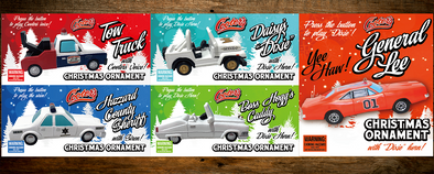 PRE-ORDER ONLY (December Delivery Expected/Not Guaranteed) Set of 5 Christmas Ornaments each W/Sound Button General Lee, Tow Truck, Daisy's Dixie, Hazzard Sheriff & Boss Caddy