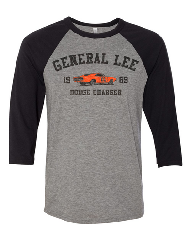 Cooter's 69 General Lee Old School Raglan 3/4 Sleeve Tee