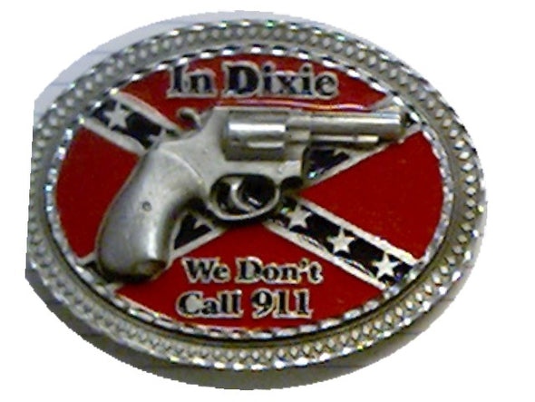 We Don't Dial 911 Confederate Belt Buckle