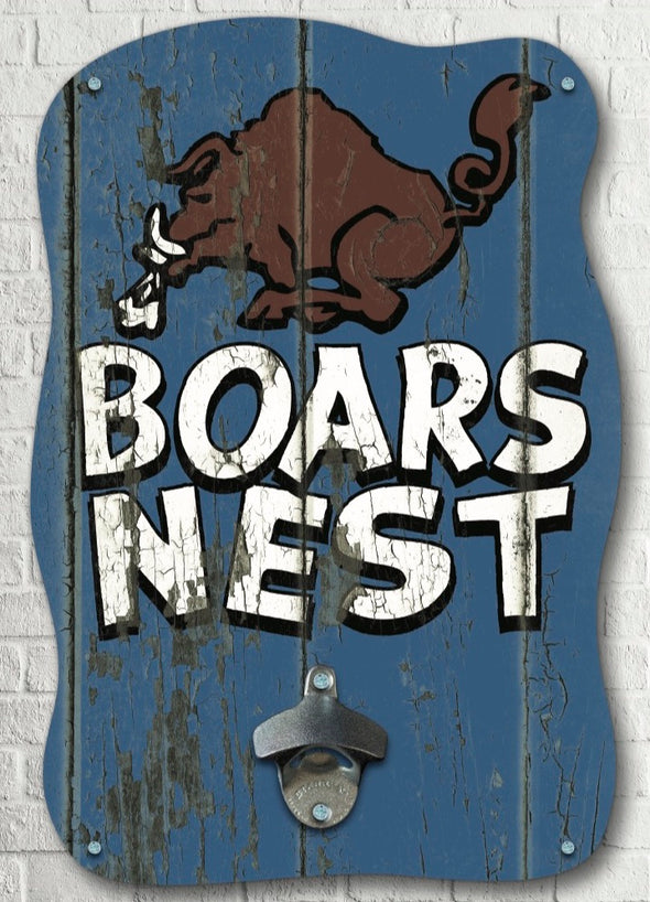 Wooden Boars Nest Sign W/ Bottle Opener