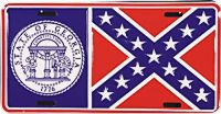 Georgia Confederate Flag License Plate