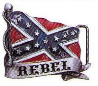 Flag With Rebel Confederate Belt Buckle