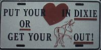 Put Your Heart In Dixie Confederate Flag License Plate