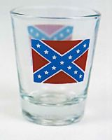 Clear Rebel Flag Shot Glass
