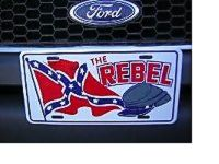 The Rebel Hat Confederate Flag License Plate
