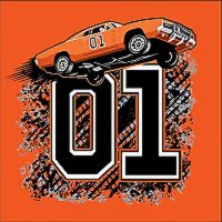 "Throw Pillow Cooter's ""General Lee Flying 01"""