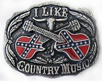 I Like Country Music Confederate Belt Buckle