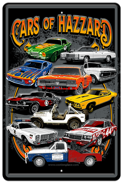 CARS OF HAZZARD METAL SIGN (12 X 18)