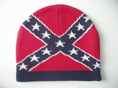 Red Confederate Flag Beanie Hat