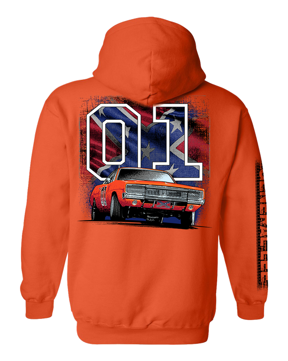 Cooter's General Lee W/ Rebel Flag 01 Hooded Pullover Sweatshirt