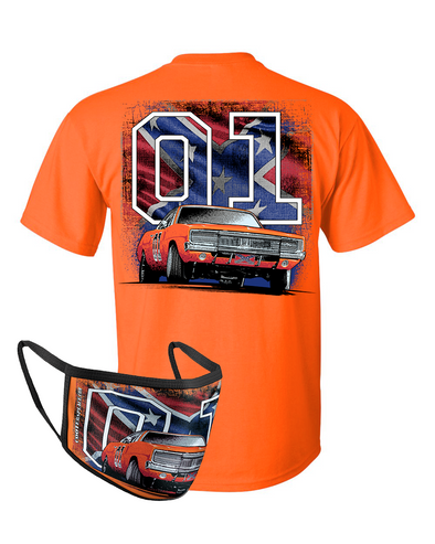 Face Cover & Tee COMBO General Lee W/ Flag 01