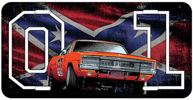 General Lee 01 with Flag License Plate