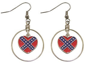 Rebel Flag Hoop Earrings