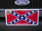 I Ain't Coming Down Confederate Flag License Plate