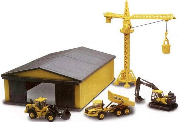 1:64 Volvo Construction Vehicles, Building Site Crane & Machine Shed (Set of 5)
