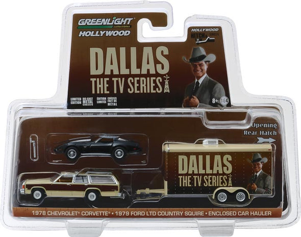 1:64 Hollywood Hitch & Tow Series 6 - Dallas (1978-91 TV Series) - 1979 Ford LTD Country Squire with 1978 Chevrolet Corvette C3 in Enclosed Car Hauler