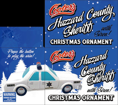 PRE-ORDER ONLY (December Delivery Expected/Not Guaranteed) Hazzard County Sheriff Christmas Ornament W/Police Siren Sound Button