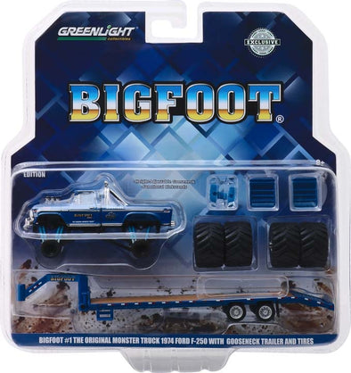 "1:64 Bigfoot #1 The Original Monster Truck (1979) - 1974 Ford F-250 Monster Truck on Gooseneck Trailer with Regular and Replacement 66"" Tires"