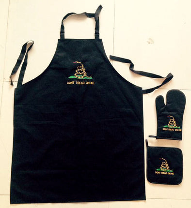 GADSDEN LOGO (BLACK) APRON, HOT PAD & GLOVE 3-PIECE SET