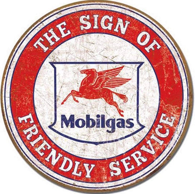 Tin Sign - Mobilgas - The Sign of Friendly Service (Round)
