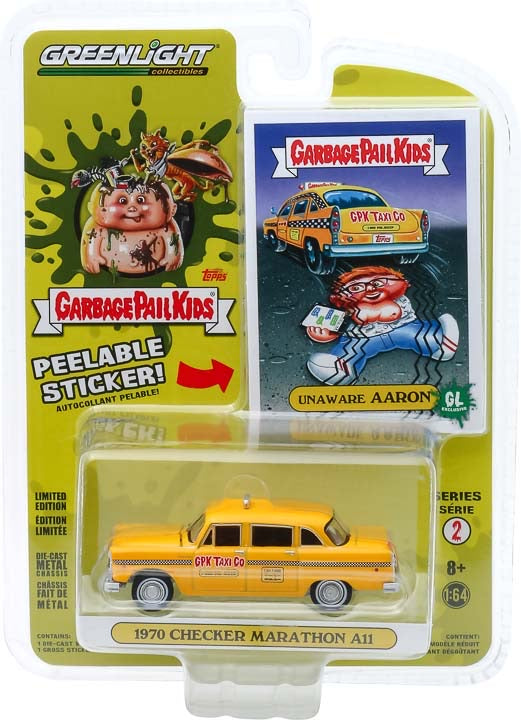 1:64 Garbage Pail Kids Series 2 - Unaware Aaron - 1970 Checker Motors Marathon A11 GPK Taxi Co