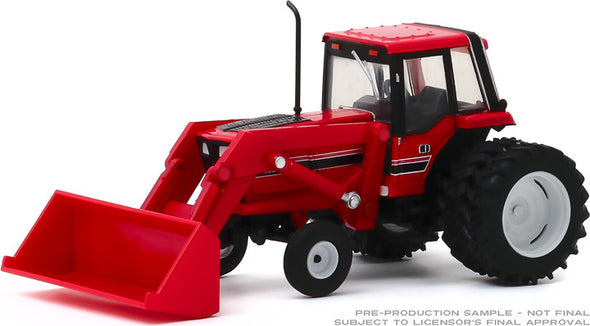 1:64 Down on the Farm Series 4 - 1982 Tractor - Red and Black with Front Loader and Dual Rear Wheels Solid Pack