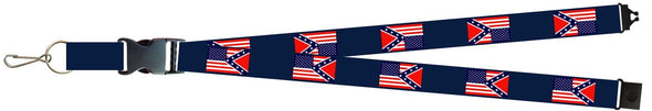USA/CONFEDERATE FLAG LANYARD (BLUE)