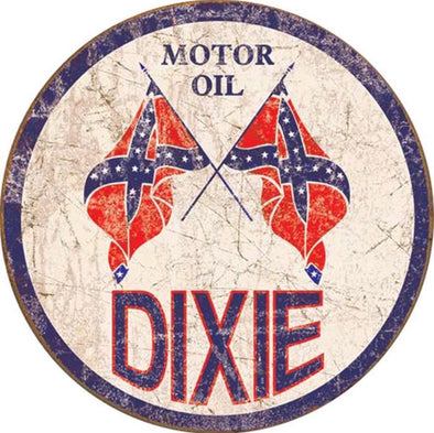 Tin Sign - Dixie Motor Oil (Weathered) (Round)