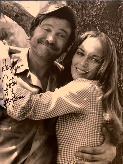 "Autographed Black & White Ben Jones aka ""Cooter"" with ""Daisy"" Catherine Bach Photo (8x10)"