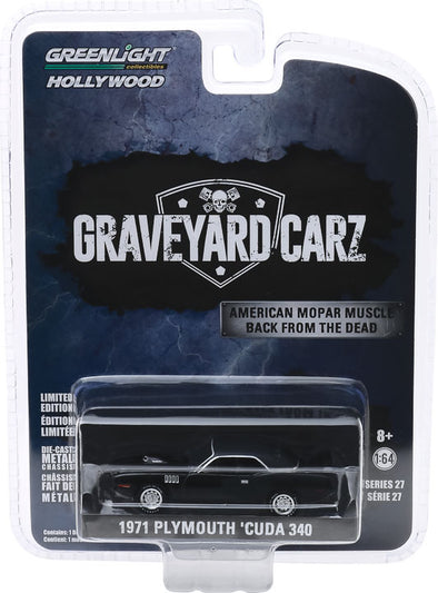 1:64 Hollywood Series 27 - Graveyard Carz (2012-Current TV Series) - 1971 Plymouth 'Cuda 340 (Season 2 - Phantasm 'Cuda) Solid Pack