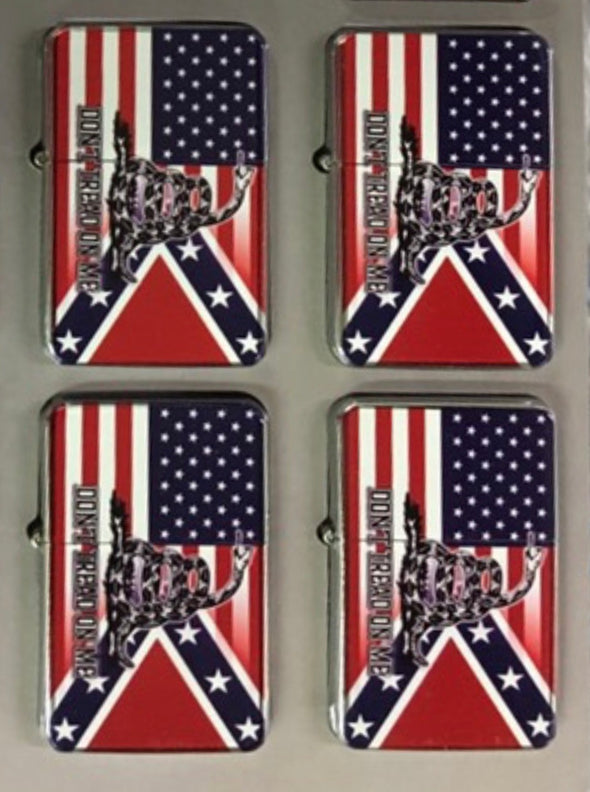 CONFEDERATE/USA FLAG LIGHTER (Don't Tread On Me)