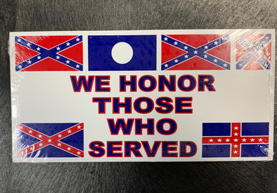 We Honor Those Who Served Rebel Bumper Sticker